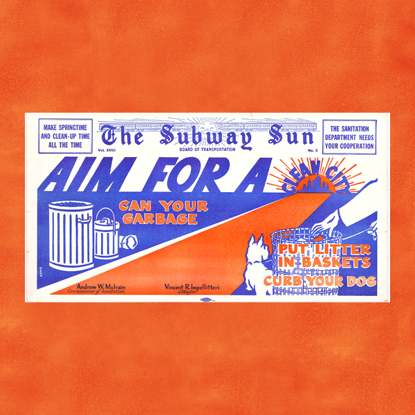 A graphic of a blue and orange horizontal PSA poster on an orange background. The PSA poster reads