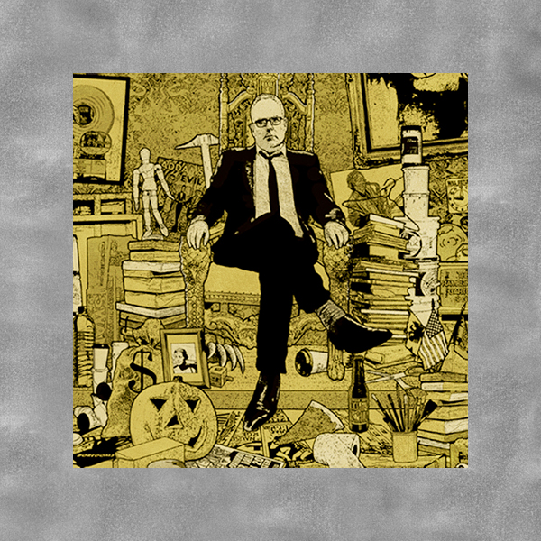 a cropped image of an illustrated poster of Mike King in a black suit on a yellow background crowded with books and tchotchkes.