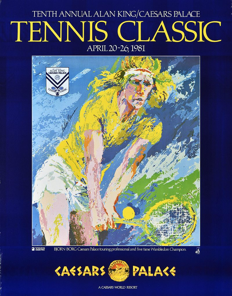 photo offset poster of a blonde haired tennis player smacking the ball