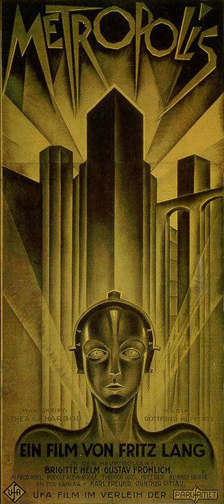 lithographic poster in shades of gold of a robot staring at the viewer with a large cityscape behind it