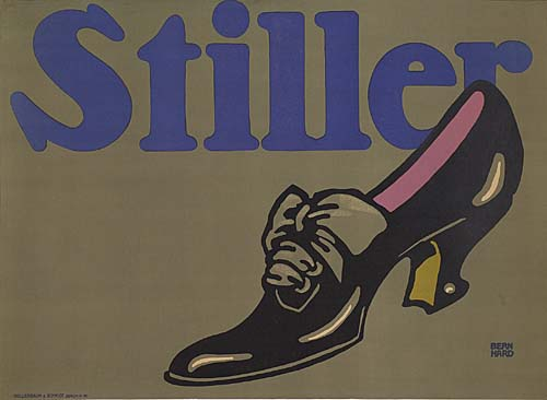 lithographic poster of a black leather high heeled shoe on a grey background