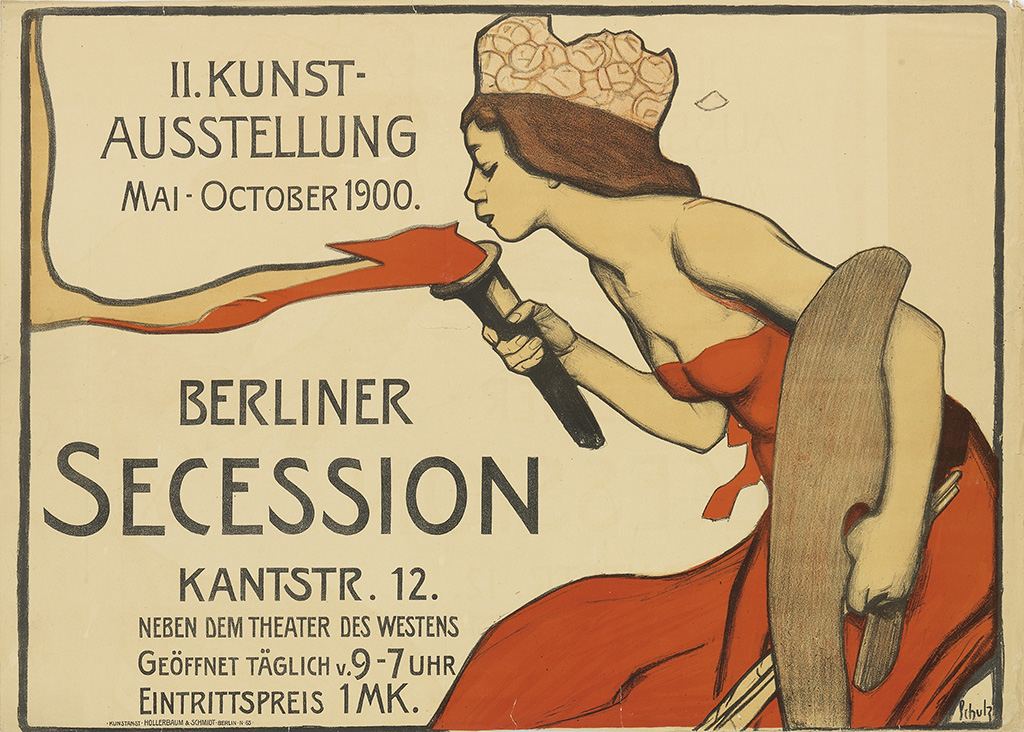 lithographic poster of a woman in a red dress and crown blowing out a torch