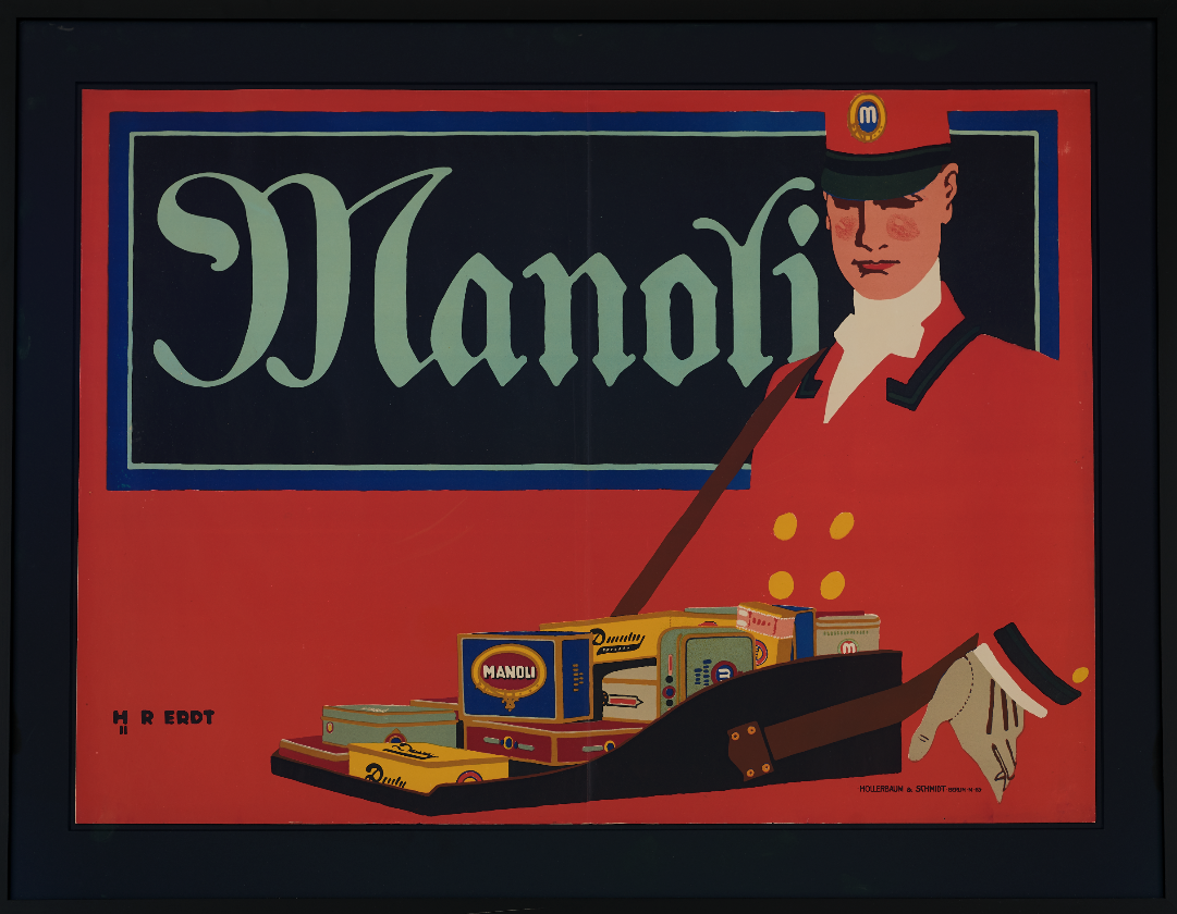 lithographic poster of a man in a red uniform holding a box of various types of cigarettes