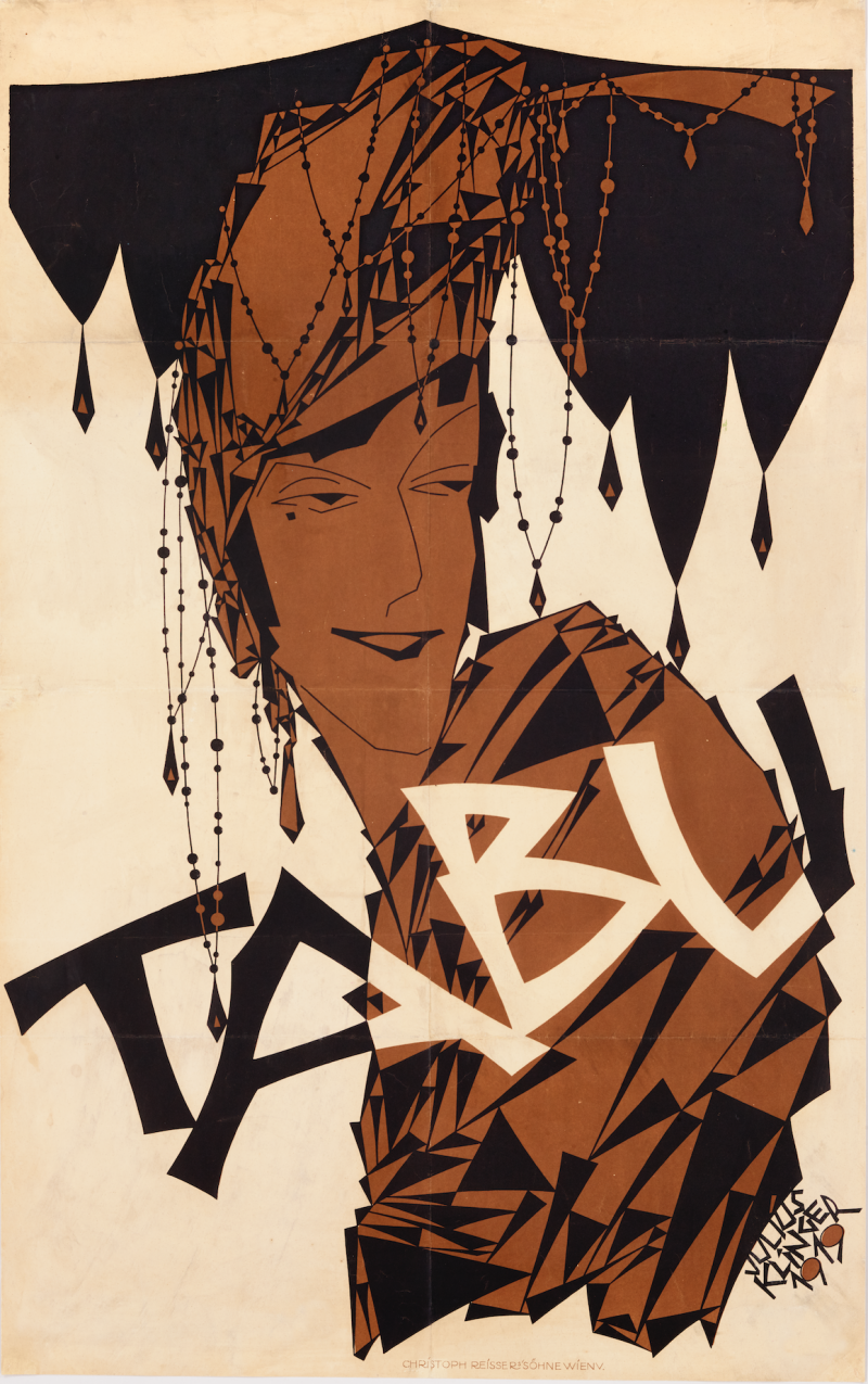 lithographic poster in brown and black hues of a woman in an elaborate headdress