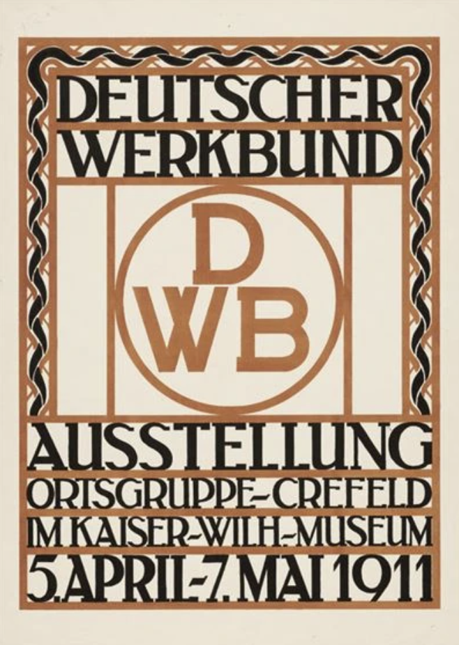 lithographic text based poster of black and brown text announcing a show over a white and brown geometric background