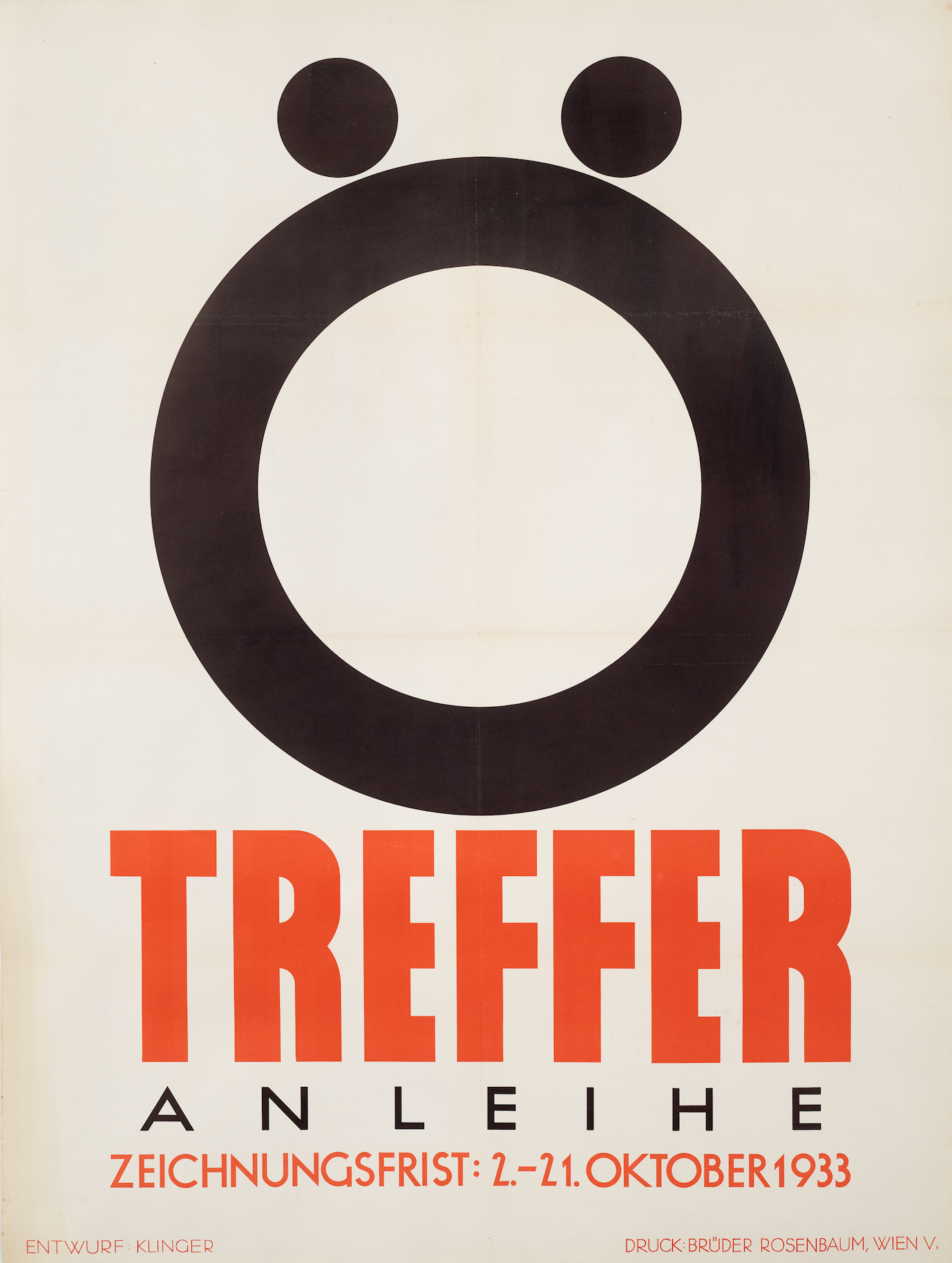 lithographic poster of a giant O with an umlaut over it on a white background