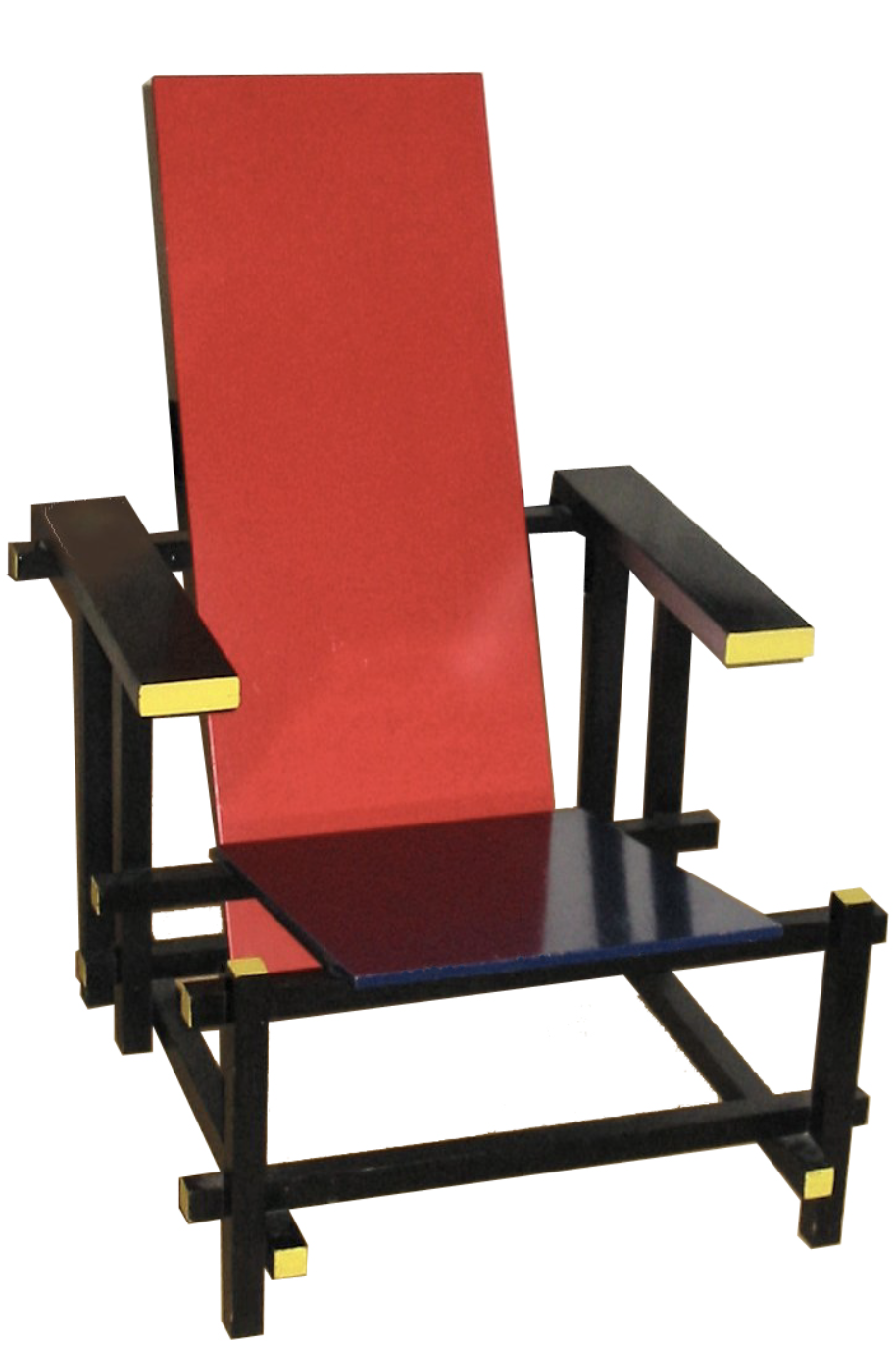 photograph of a red chair with black arms and legs.